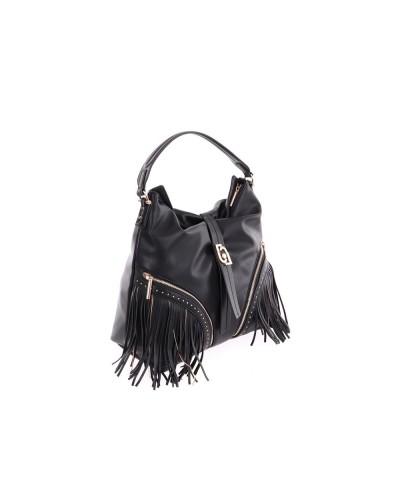 Borsa a spalla  Liu Jo Donna nero  realizzata in similpelle effetto nappa con micro borchie applicate, frange sur ton e sottili