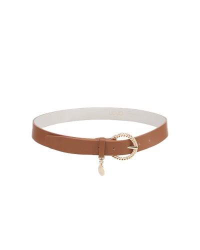 Cintura Liu Jo donna effetto nappa mossa impreziosita da un charm logato con fibbia metallica a catena color camoscio