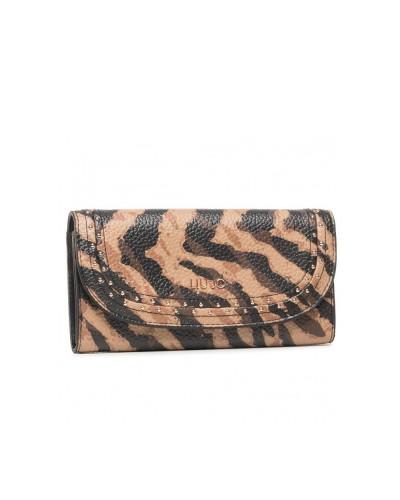 Portafoglio bifold Liu Jo donna con applicazione di borchie zebrato color cammello