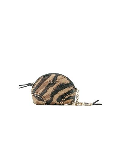 Portachiavi Liu Jo donna realizzato in metallo color oro con charm logato e astuccio con borchie applicate color zebrato cammel