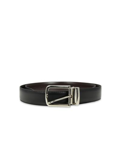 Cintura Trussardi Jeans in pelle a marchio nero/moro double noto