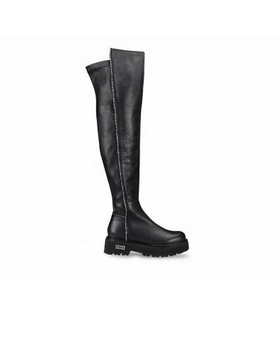 Scarpe Stivali Anfibi Cult altezza ginocchio chiusura con cerniera in ecopelle nero
