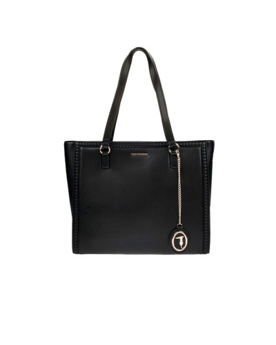 Borsa Shopping Trussardi logo in metallo e pendente in ecopelle nera