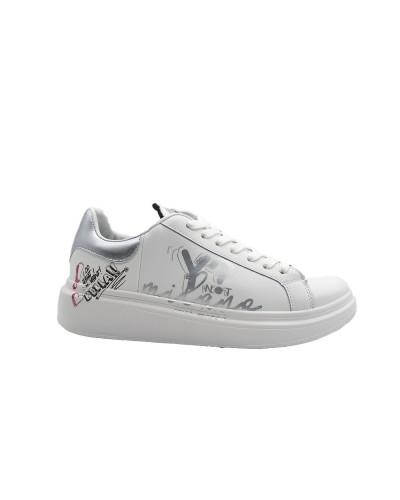 Scarpe Sneakers Y Not in ecopelle bianca e argento