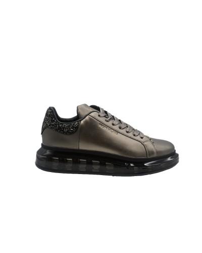 Scarpe Sneakers Y Not in ecopelle bronzo con para nero trasparente