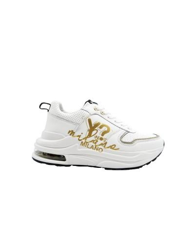Scarpa Sneakers Y Not chunky in ecopelle bianca con logo dorato