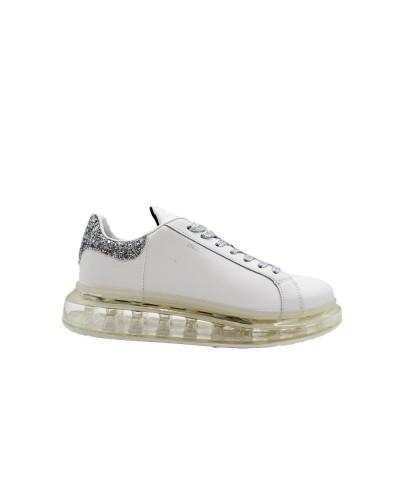 Scarpe Sneakers Y Notcon platform gliter in similpelle bianco