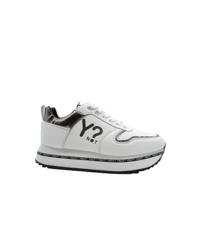 Sscarpe Sneakers Y Not con para alta logata in ecopelle bianca