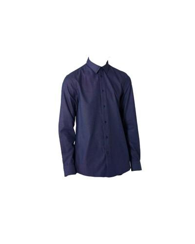 Camicia Trussardi Uomo regular fit in cotone fil à fil blu