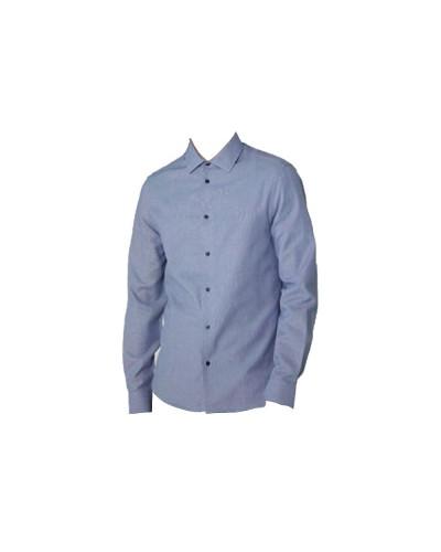 Camicia Trussardi Uomo linea slim fit in cotone con micro texture vichy tono su tono