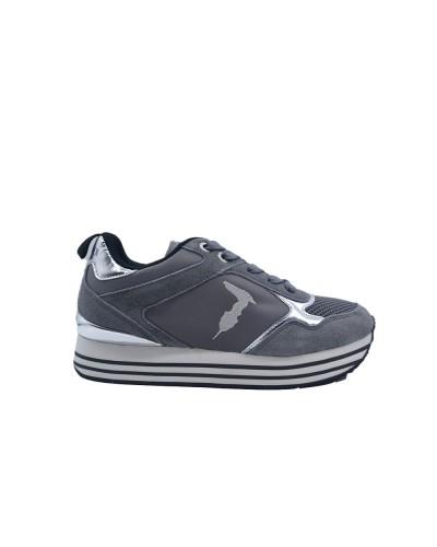 Scarpe Sneakers Trussardi donna plateau rialzato in tessuto grigio e dettagli argento