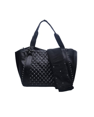 Borsa Shopping L'Atelier Du Sac con borchie applicate pashimina omaggio in similpelle nera