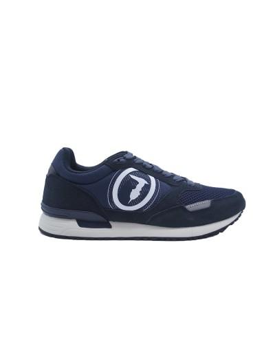 Scarpe Sneakers Trussardi uomo con maxi logo in tessuto blu