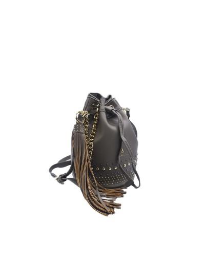 Borsa Secchiello L'Atelier Du Sac con borchie applicate tracolla in dotazione pashimina in omaggio in similpelle grigia