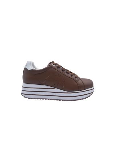 Scarpe Sneakers Trussardi donna con plateau rialzato in pelle marrone
