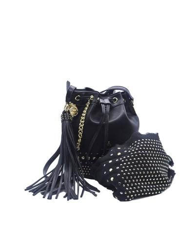 Borsa Secchiello L'Atelier Du Sac con borchie applicate tracolla in dotazione pashimina in omaggio in similpelle nera
