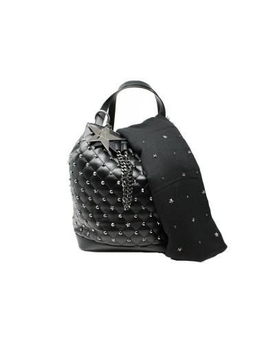 Borsa secchielloL'Atelier Du Sac con borchie applicate tracoola in dotazione pashimina omaggio in similpelle nera