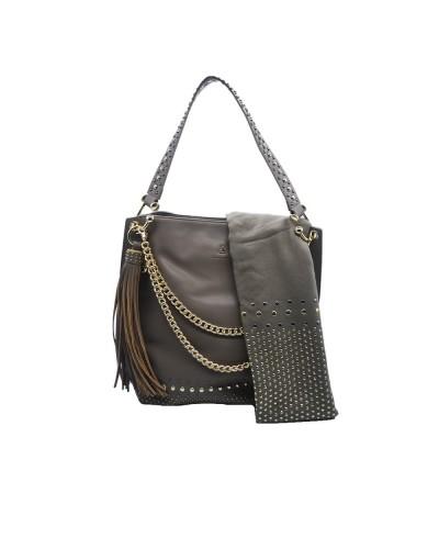 Borsa Shopping L'Atelier Du Sac con catene tracolla in dotazione pashimina omaggio borchie applicatr in similpelle grigia