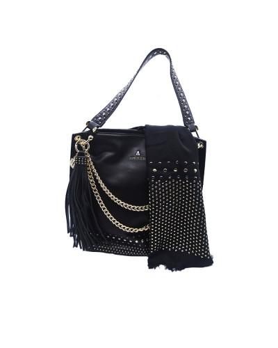 Borsa Shopping L'Atelier Du Sac con catene tracolla in dotazione pashimina omaggio borchie applicatr in similpelle nera