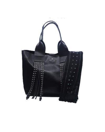 Borsa Shopping L'Atelier Du Sac con frange e borchie applicate tracolla in dotazione pashimina in omaggio in similpelle nera