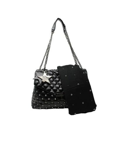 Borsa Shopping L'Atelier Du Sac con borchie applicate pashimina omaggio in similpelle nera