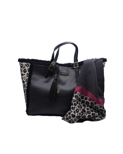 Borsa Shopping L'Atelier Du Sac con dettagli animalier pashimina omaggio in similpelle nera