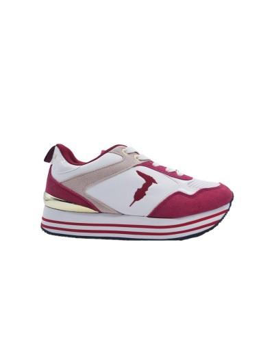 Scarpe Sneakers Trussardi donna plateau rialzato in tessuto rosa rosso e bianco