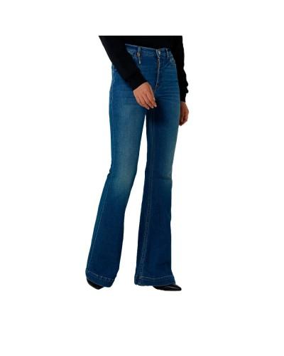 Jeans Trussardi Donna con vita alta e linea svasata sul fondo con piccolo ciondolo trussardi