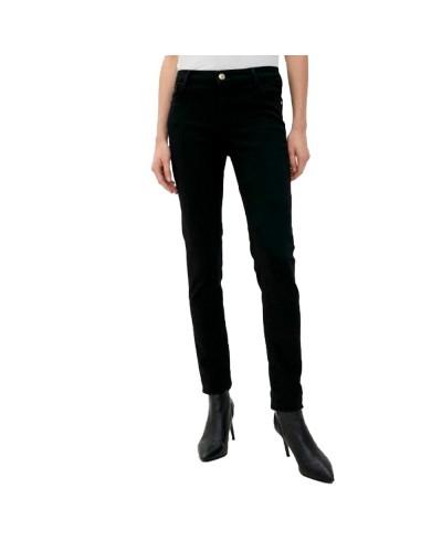 Jeans Trussardi Donna nero modello cinque tsache leggermente elasticizzato caratterizzato con logo sul retro con micro strass