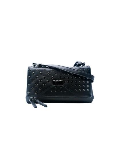 Borsa tracolla Cult donna con borchie e zip con apertura a bottone calamita nera 100% pu leather