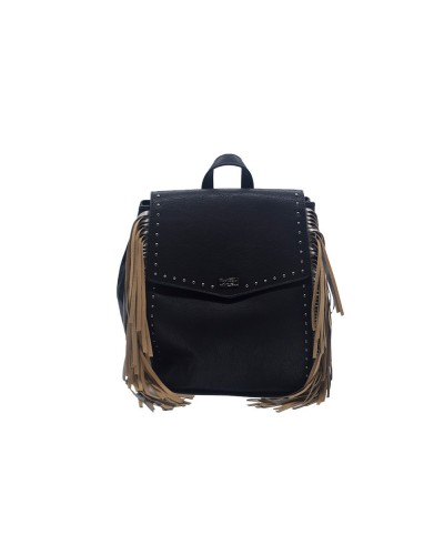 Zaino Cult donna nero con frange laterali beige 100% pu leather