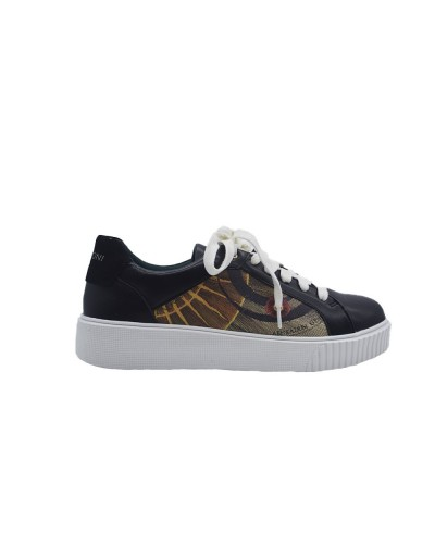 Scarpe Sneakers Gattinoni Planetarium fondo a cassetta bianco in ecopelle nero