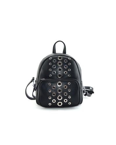 Zaino Cult donna nero con applicazioni parte anteriore in acciaio 100% pu leather