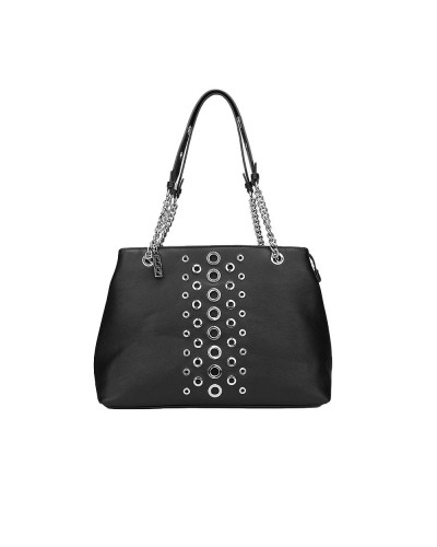 Borsa Cult a mano donna con manici in catene e borchie nera 100% pu leather
