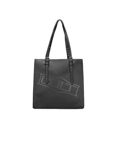 Borsa Cult a spalla donna con manici con borchie nera 100% pu leather