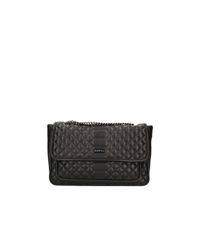 Borsa Cult Donna tracolla nera trapuntata con manici regolabili in catena 100% pu leather