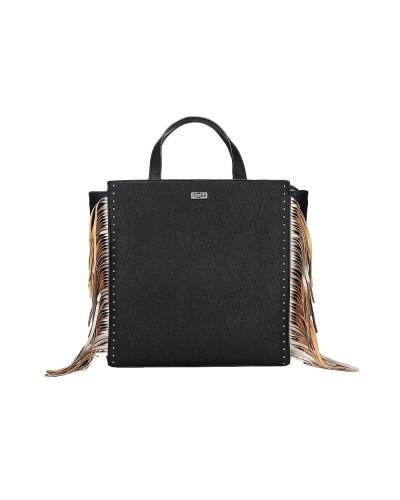 Borsa Cult a mano con tracolla nera con frange laterali beige 100% pu leather