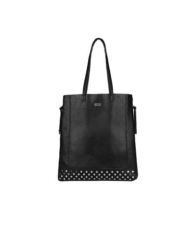 Borsa Cult shopping verticale espandibile nera con borchie in ecopelle
