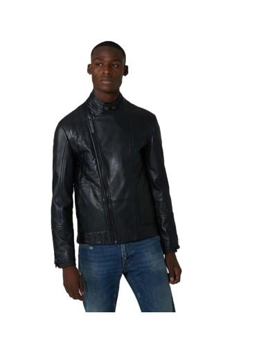 Giacca Biker Trussardi Jeans uomo in vera pelle con collare con bottoni e chiusura zip laterale