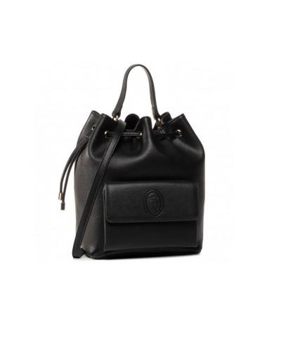 Borsa Secchiello Trussardi con tasca anteriore in ecopelle nera
