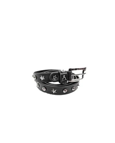Cintura L'Atelier Du Sac donna nera spessore 1,5cm con borchie e stelle