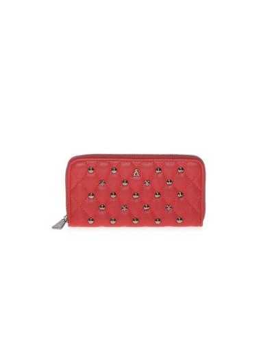 Portafoglio L'Atelier Du Sac donna con cerniera con applicazioni metaliche rosso