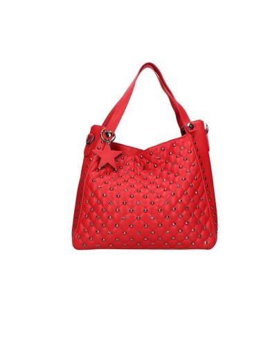 Borsa Shopping L'Atelier Du Sac con borchie applicate pochette con tracolla  pashimina omaggio in similpelle rossa