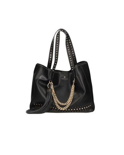 Borsa Shopping L'Atelier Du Sac con borchie applicate tracolla in dotazione pashimina in omaggio in similpelle nera
