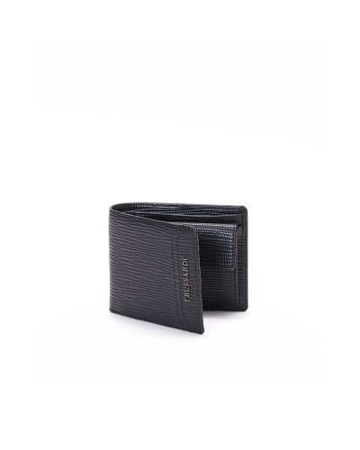 Portafoglio Trussardi uomo in ecopelle nero effetto saffiano con portamonete