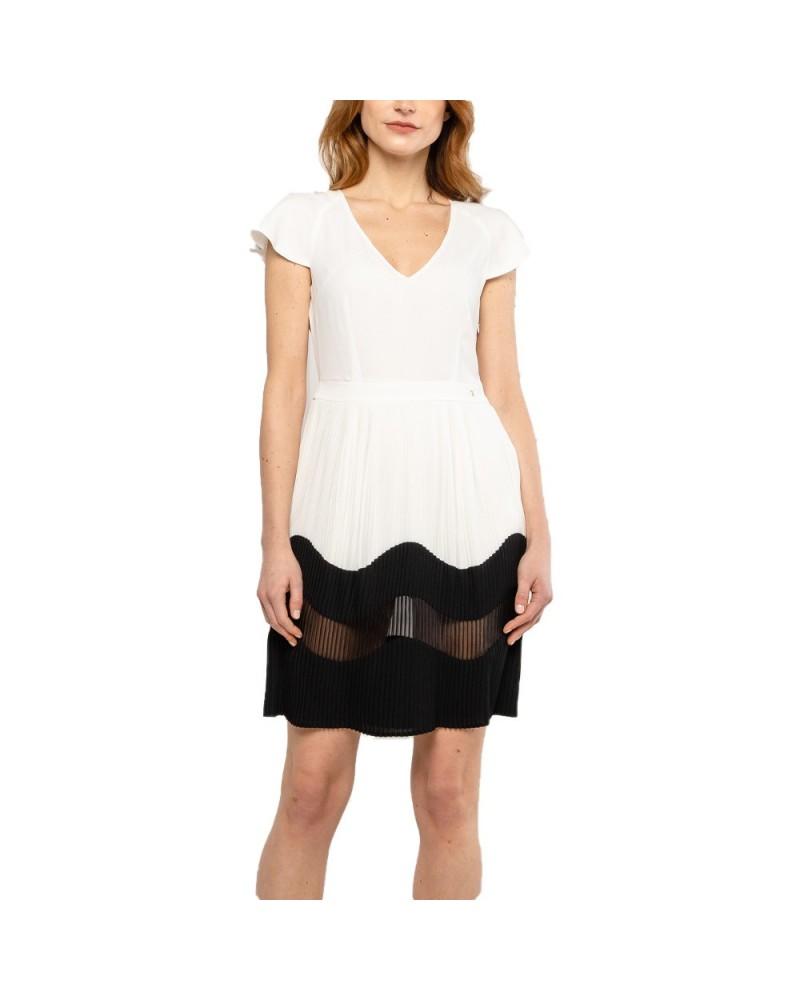 Abito Trussardi Jeans donna geometrico plisse' bianco/nero