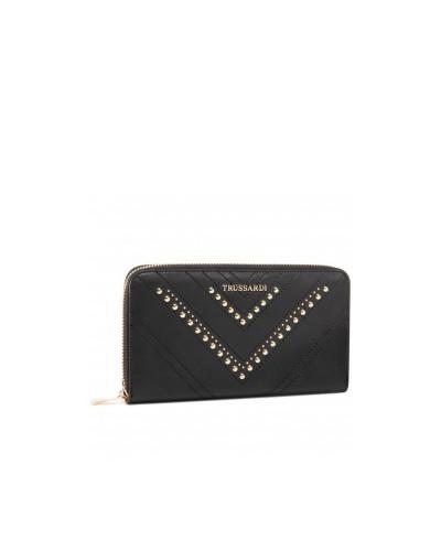 Portafoglio Trussardi donna in ecopelle con borchie dorate e zip nero
