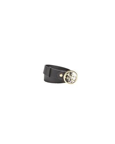 Cintura Guess effetto martellato con chiusura rappresentante logo in similpelle nera
