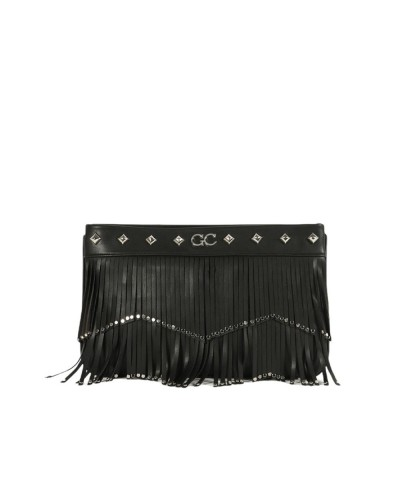 Borsa Clutch Gio Cellini con frange  e borchie in ecopelle nera
