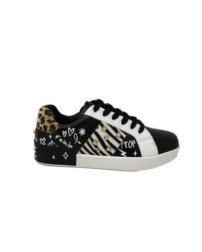 Scarpe Sneakers Gio Cellini animalier in pelle bianco nera